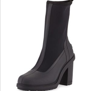 Hunter original sock high heel black rain boot